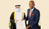 Saudi envoy to Ghana, Mishaal bin Hamdan Al-Roqi, left, presenting his credentials to Togolese Minister of Foreign Affairs Robert Dossi. (SPA)