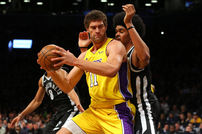 newest fe5c8 04883 Brook Lopez helps Lakers edge Nets 102-99 in return to ...