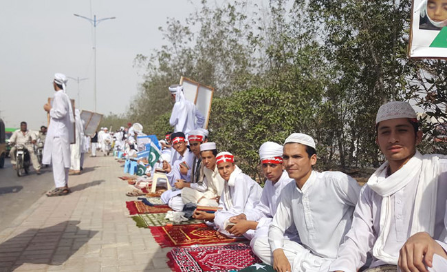 Hundreds of 'madrasa' students in silent protest against
